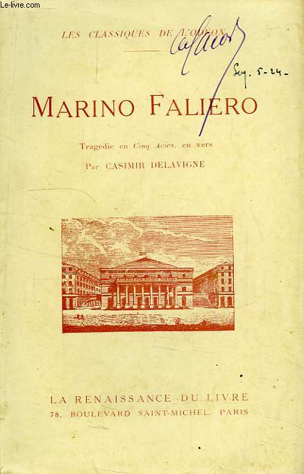 MARINO FALIERO, TRAGEDIE EN 5 ACTES