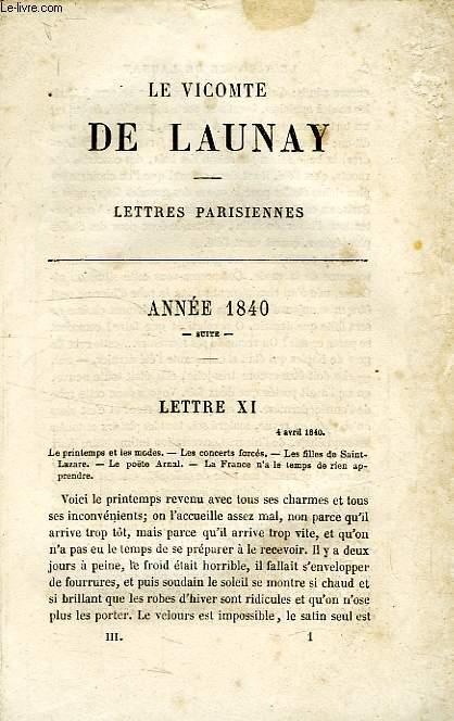 LE VICOMTE DE LAUNAY, LETTRES PARISIENNES, TOME III