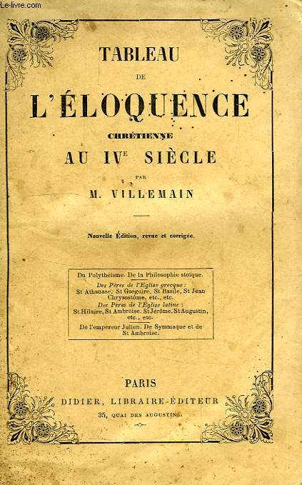 TABLEAU DE L'ELOQUENCE CHRETIENNE AU IVe SIECLE