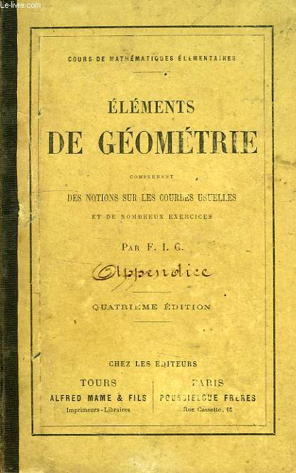 APPENDICE AUX ELEMENTS DE GEOMETRIE