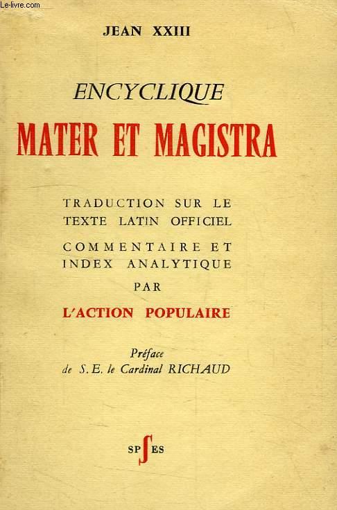 ENCYCLIQUE MATER ET MAGISTRA