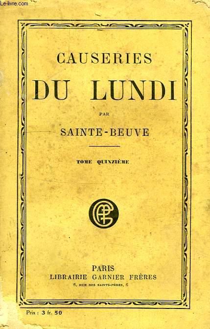CAUSERIES DU LUNDI, TOME XV