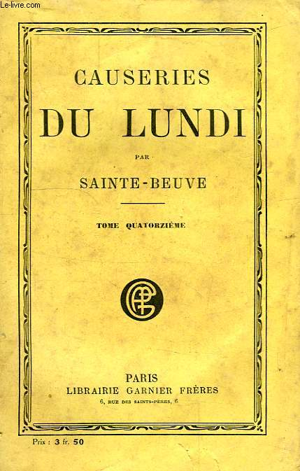 CAUSERIES DU LUNDI, TOME XIV