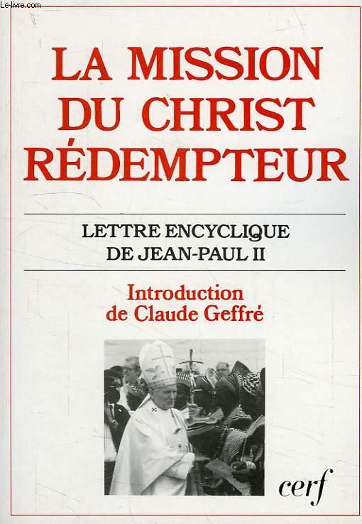 LA MISSION DU CHRIST REDEMPTEUR, LETTRE ENCYCLIQUE DE JEAN-PAUL II