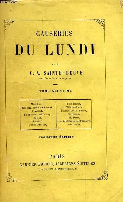 CAUSERIES DU LUNDI, TOME IX