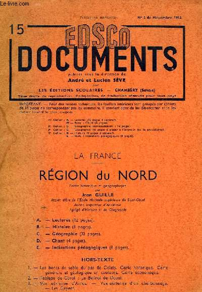 EDSCO DOCUMENTS (15), N° 3, NOV. 1953, LA FRANCE, REGION DU NORD