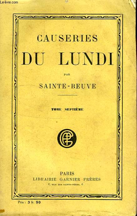CAUSERIES DU LUNDI, TOME VII