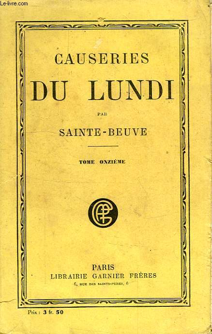 CAUSERIES DU LUNDI, TOME XI