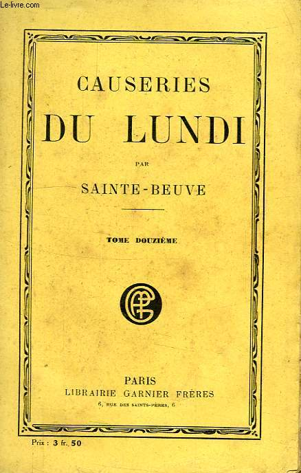 CAUSERIES DU LUNDI, TOME XII
