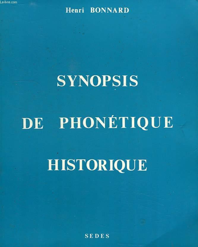 SYNOPSIS DE PHONETIQUE HISTORIQUE