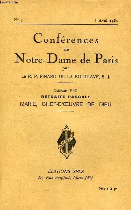 MARIE, CHEF-D'OEUVRE DE DIEU, RETRAITE PASCALE, NOTRE-DAME DE PARIS, N° 7, AVRIL 1931