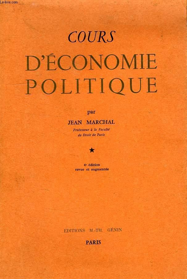 COURS D'ECONOMIE POLITIQUIE, 1re ANNEE