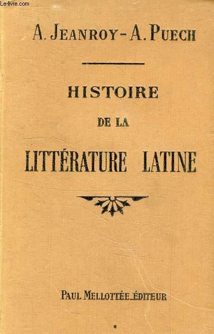 HISTOIRE DE LA LITTERATURE LATINE