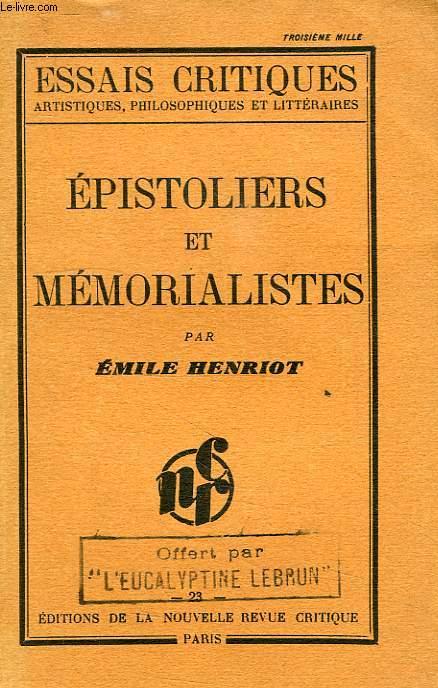 EPISTOLIERS ET MEMORALISTES