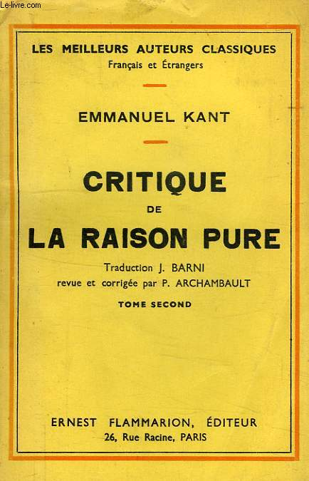 CRITIQUE DE LA RAISON PURE, TOME II