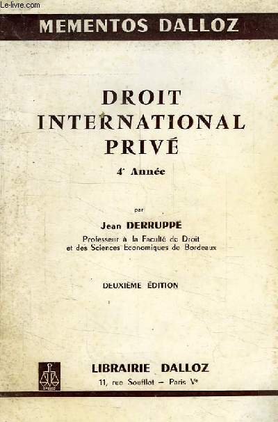 DROIT INTERNATONAL PRIVE, 4e ANNEE