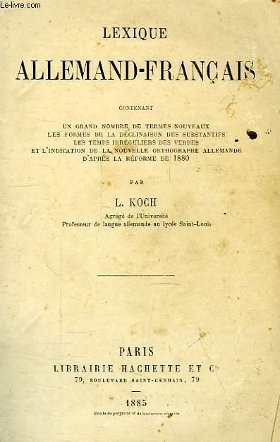 LEXIQUE ALLEMAND-FRANCAIS