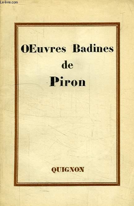 OEUVRES BADINES DE PIRON
