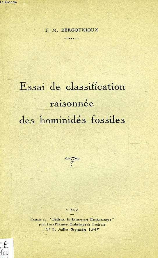ESSAI DE CLASSIFICATION RAISONNEE DES GOMINIDES FOSSILES