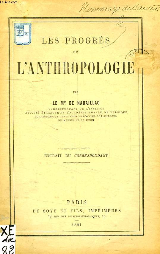 LES PROGRES DE L'ANTHROPOLOGIE