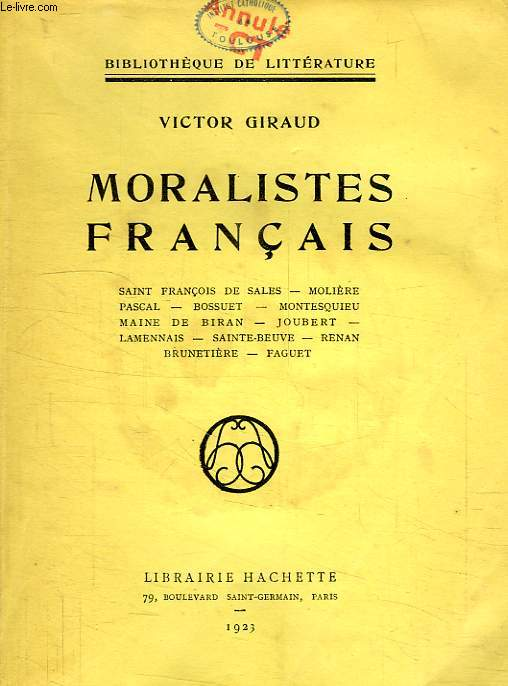 MORALISTES FRANCAIS