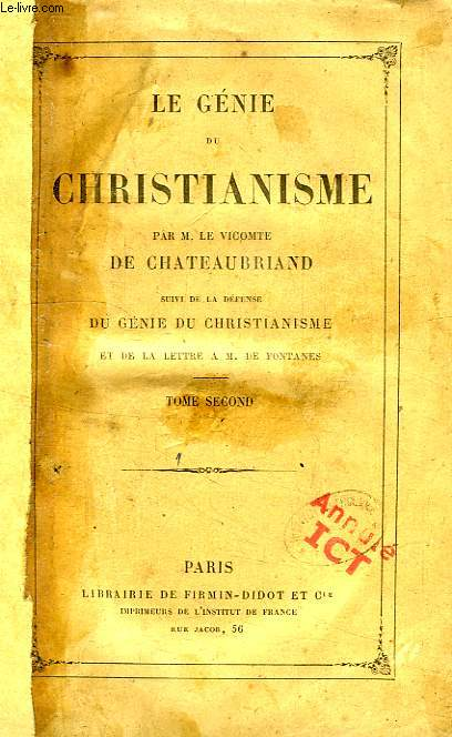 LE GENIE DU CHRISTIANISME, TOME II