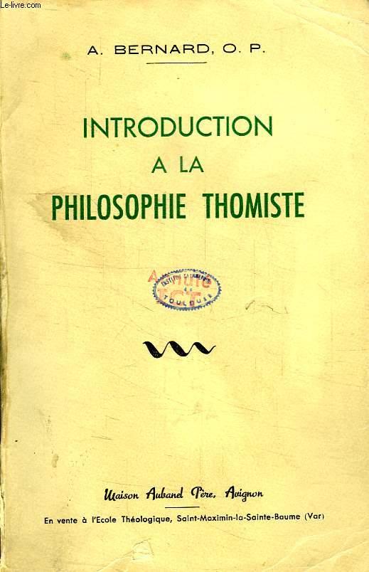 INTRODUCTION A LA PHILOSOPHIE THOMISTE