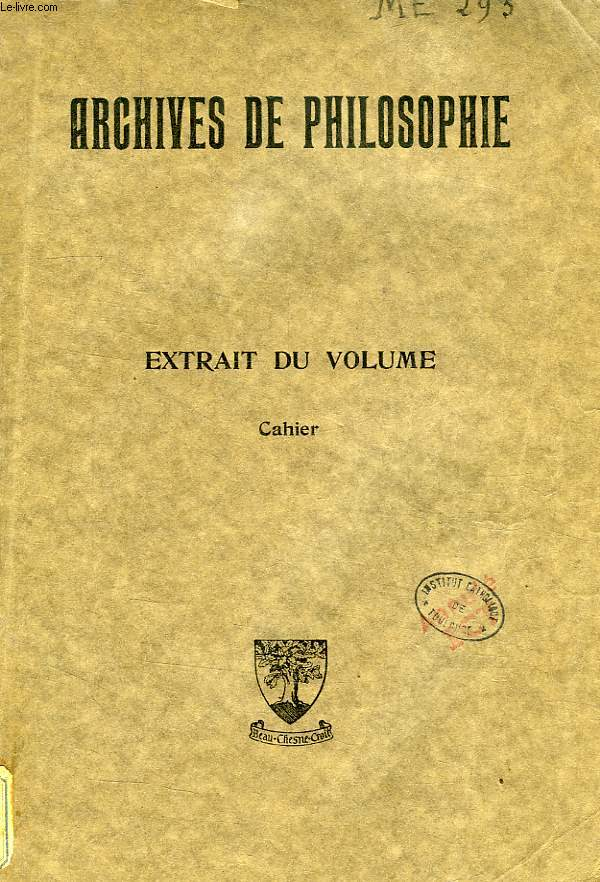 ARCHIVES DE PHILOSOPHIE, CAHIER: LE MATERIALISME HISTORIQUE