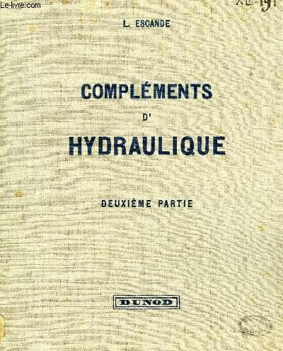 COMPLEMENTS D'HYDRAULIQUE, 2e PARTIE