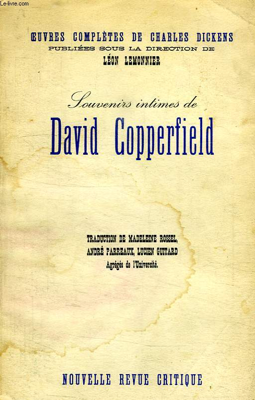 SOUVENIRS INTIMES DE DAVID COPPERFIELD