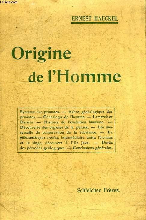 ORIGINE DE L'HOMME