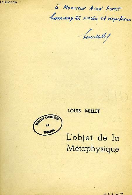 L'OBJET DE LA METAPHYSIQUE