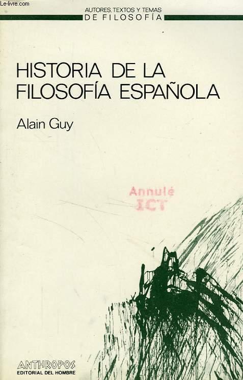 HISTORIA DE LA FILOSOFIA ESPAÑOLA