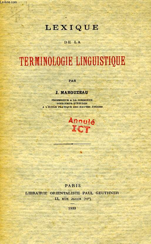 LEXIQUE DE LA TERMINOLOGIE LINGUISTIQUE