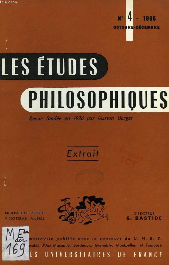 LES ETUDES PHILOSOPHIQUES, EXTRAIT, N° 4, OCT.-DEC. 1965, A PROPOS DE THEODICEE TEILHARDIENNE