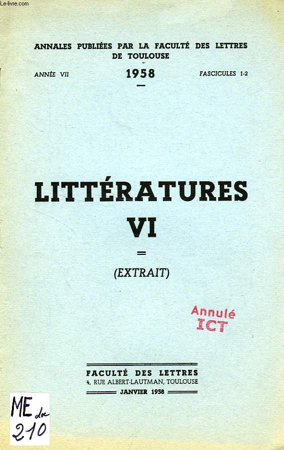 LITTERATURES VI, ANNEE VII, FASC. 1-2, JAN. 1958, EXTRAIT, CULTURE ET MODERNITE