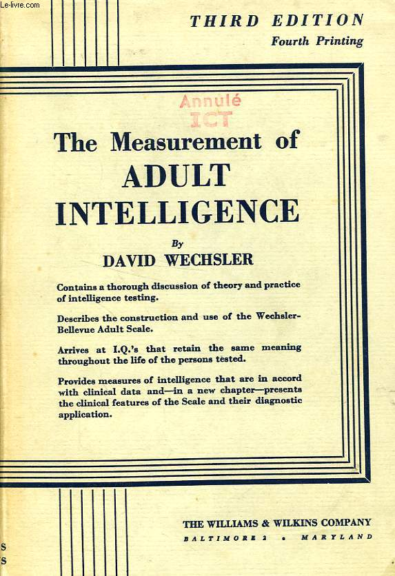 of adult intelligence Measurement