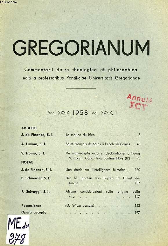 GREGORIANUM, ANN. XXXIX, VOL. XXXIX, 1, 1958, LA MOTION DU BIEN