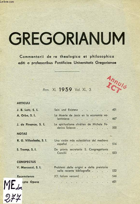 GREGORIANUM, ANN. XL, VOL. XL, 3, 1959, LE SPIRITUALISME CHRETIEN DE MICHELE FEDERICO SCIACCA