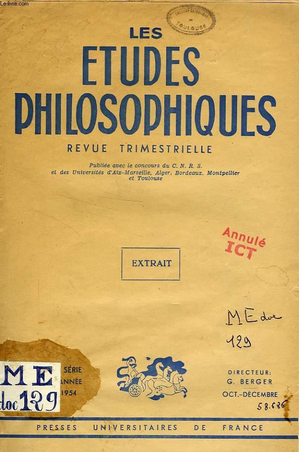 LES ETUDES PHILOSOPHIQUES, NOUVELLE SERIE, OCT.-DEC. 1954, EXTRAIT, UNE PHILOSOPHIE DE LA DISTANCE