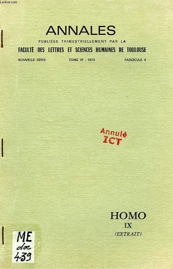 ANNALES DE LA FACULTE DES LETTRES ET SCIENCES HUMAINES DE TOULOUSE, NOUVELLE SERIE, TOME VI, FASC. 4, 1970, HOMO IX (EXTRAIT), PHILOSOPHIE ET ACTION SELON AMEDEE PONCEAU