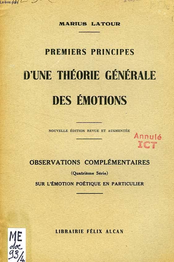 PREMIERS PRINCIPES D'UNE THEORIE GENERALE DES EMOTIONS (EXTRAIT), SUR L'EMOTION POETIQUE EN PARTICULIER