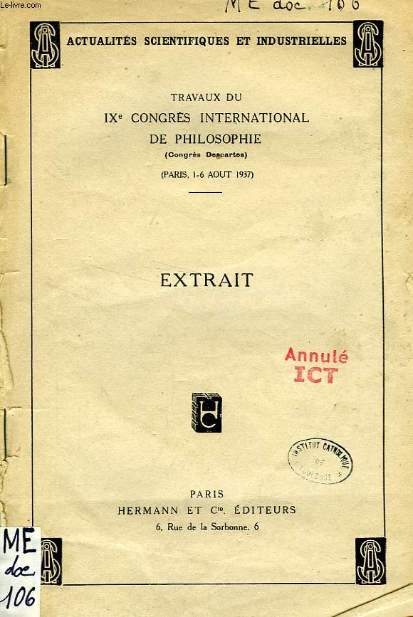 TRAVAUX DU IXe CONGRES INTERNATIONAL DE PHILOSOPHIE, EXTRAIT, PERSONNE HUMAINE ET TRANSCENDANCE