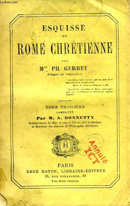 ESQUISSE DE ROME CHRETIENNE, TOME III