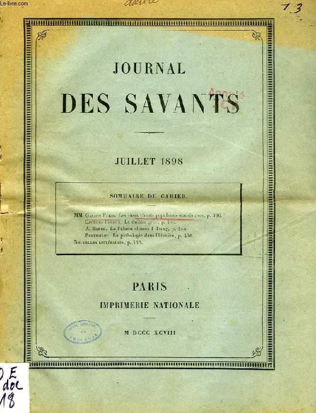 JOURNAL DES SAVANTS, JUILLET 1898, EXTRAIT, LES VIEUX CHANTS POPULAIRES SCANDINAVES