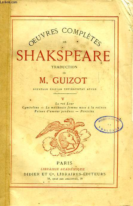 OEUVRES COMPLETES DE SHAKESPEARE, TOME V