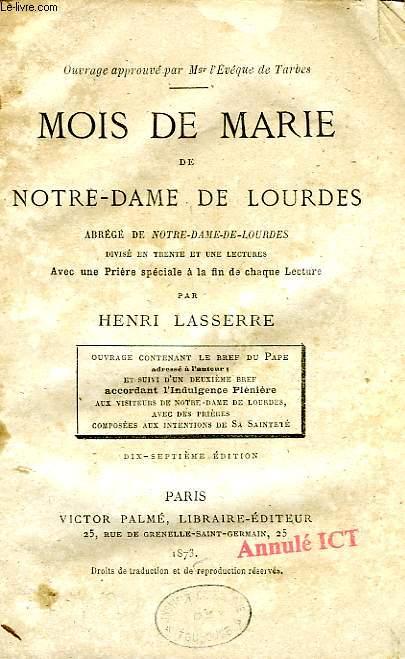 MOIS DE MARIE DE NOTRE-DAME DE LOURDES