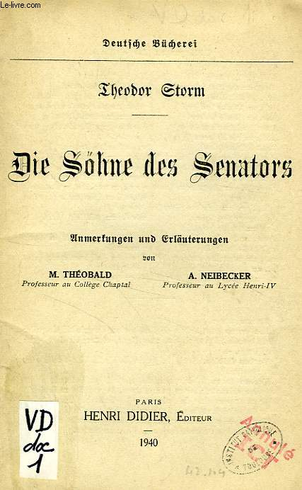 DIE SOHNE DES SENATORS (LIVRET DE NOTES)