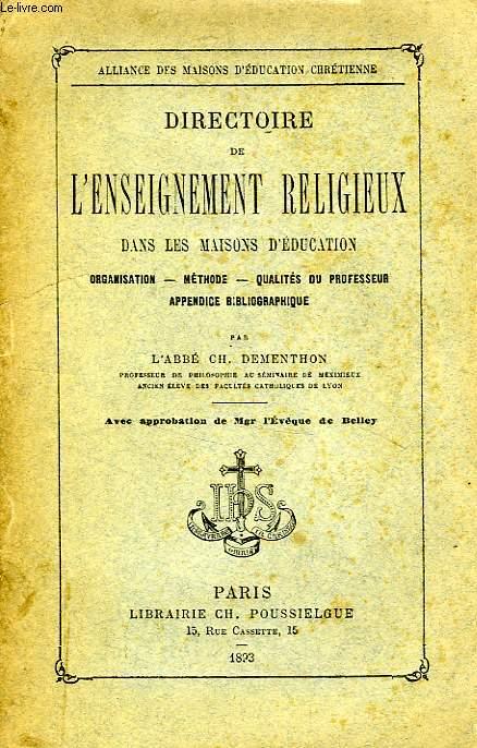 DIRECTOIRE DE L'ENSEIGNEMENT RELIGIEUX DANS LES MAISONS D'EDUCATION