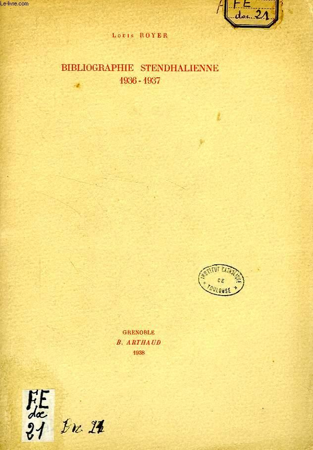 BIBLIOGRAPHIE STENDHALIENNE, 1936-1937